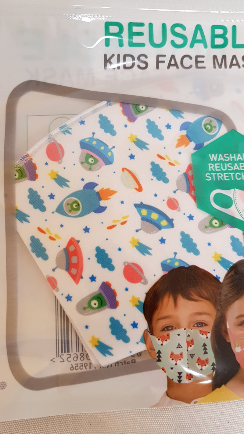 Kids Face Mask Kids Reusable Face Masks - siopashop.ie Spaceships/Rockets