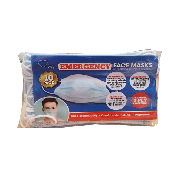 Face Masks Filtered 3 Ply Face Masks - 10 Pack - siopashop.ie