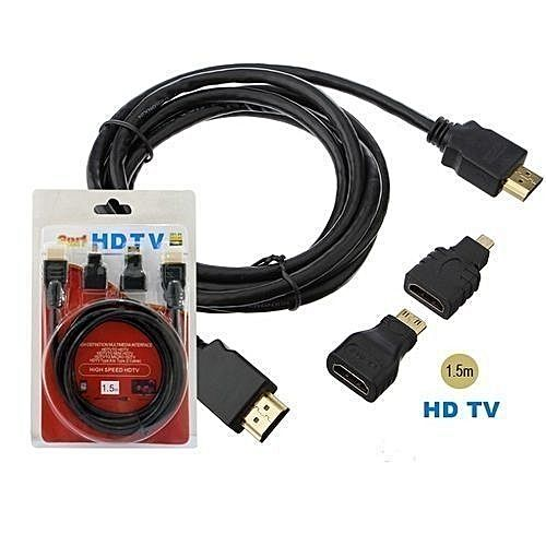 3in1 HDMI Cable 3 in 1 HDMI Cable Kit - 1.5M - siopashop.ie