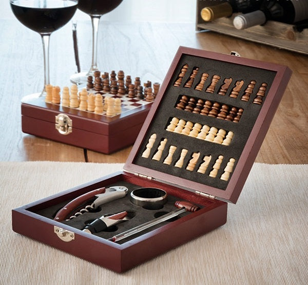 Chess and Wine Set Chess and Wine Accessory Set - siopashop.ie