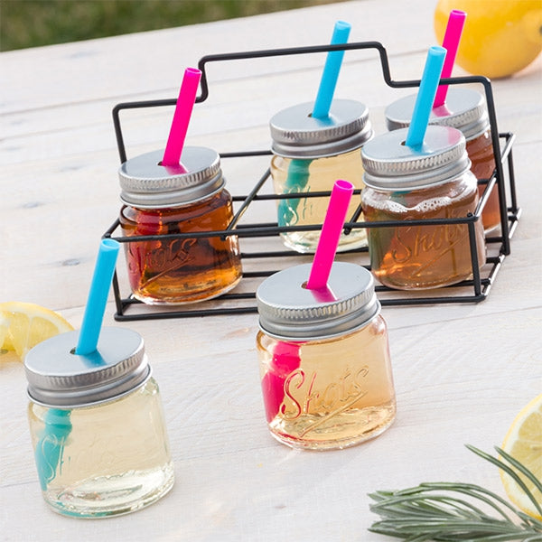 Shot Glasses with Lids Shot Glasses with Lids, Straws and Carry Basket - siopashop.ie