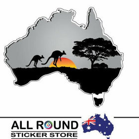 Large Australia-Map-sticker-with-kangaroo-sunset- for Motorhome, boat, truck, ca
