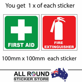 First Aid and fire extinguisher sticker set