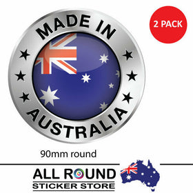 Made In Australia with Aussie Flag Bumper Sticker 90mm Decal , cars , motorhome,