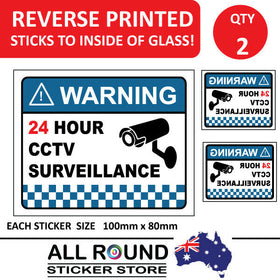 2 PACK Warning CCTV Security Surveillance Camera Sticker Sign 100mm x 80mm