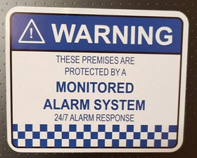 4 x Alarm System Monitored Warning Security Stickers Waterproof Security Sign Wi