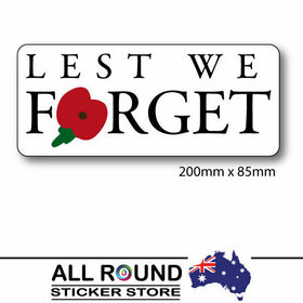 Lest We Forget sticker Australian Decal