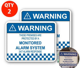 2 x Alarm System Monitored Warning Security Stickers Waterproof Security Sign Wi
