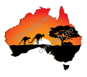 Australia-Map-sticker-with-kangaroo-sunset-bumper-sticker-for-car,-window,