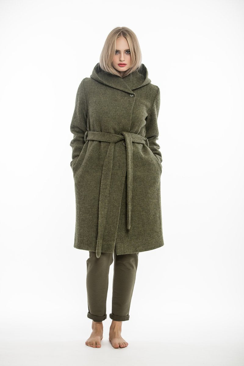 Green coat with hood