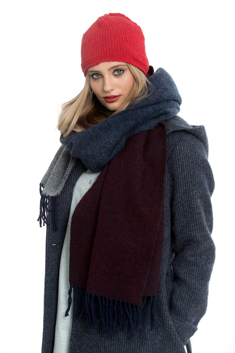 Blue-wine red Scarf