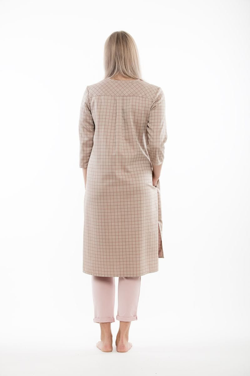 Checked Long shirt copper