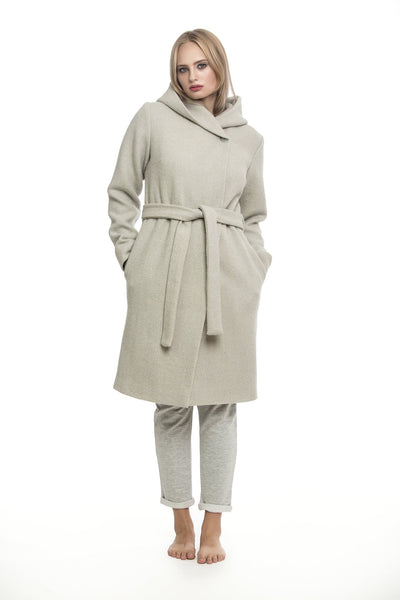 Grey coat with hood
