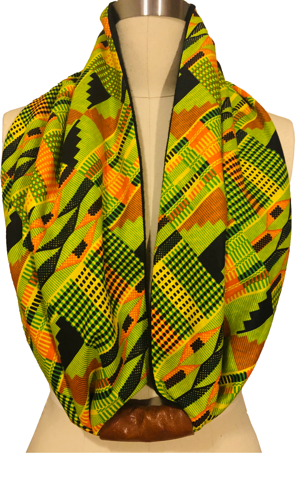 Unisex Kente Print Cotton and Fleece Lined Infinity Scarf with Leather Accent
