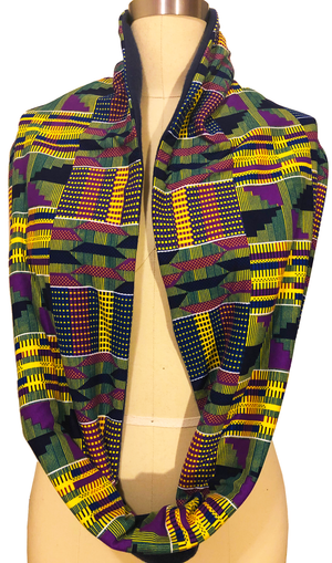 Unisex Kente Print Jersey and Fleece Lined Infinity Scarf