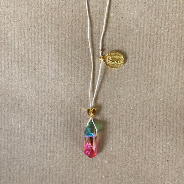 Crystal Necklace - Ombre pink Rainbow