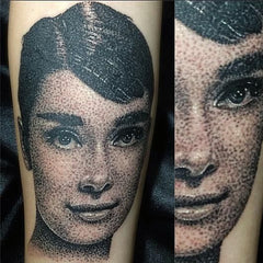 Audrey hepburn dotwork portrait tattoo