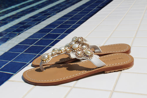 Mysituqe Paris- Women's White Pearl Jeweled Sandal