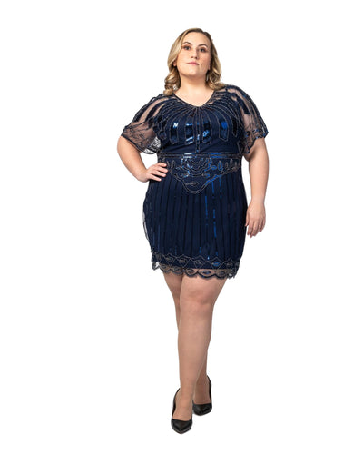Navy Blue Beaded Angel Sleeve Flapper Dress