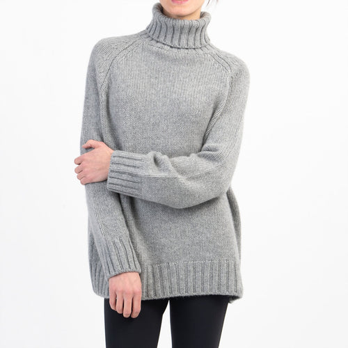 Johnston of Elgin Box Shaped Funnel Neck Sweater