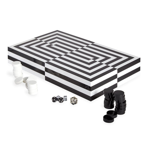 Lacquer Backgammon - Blanco - Negro