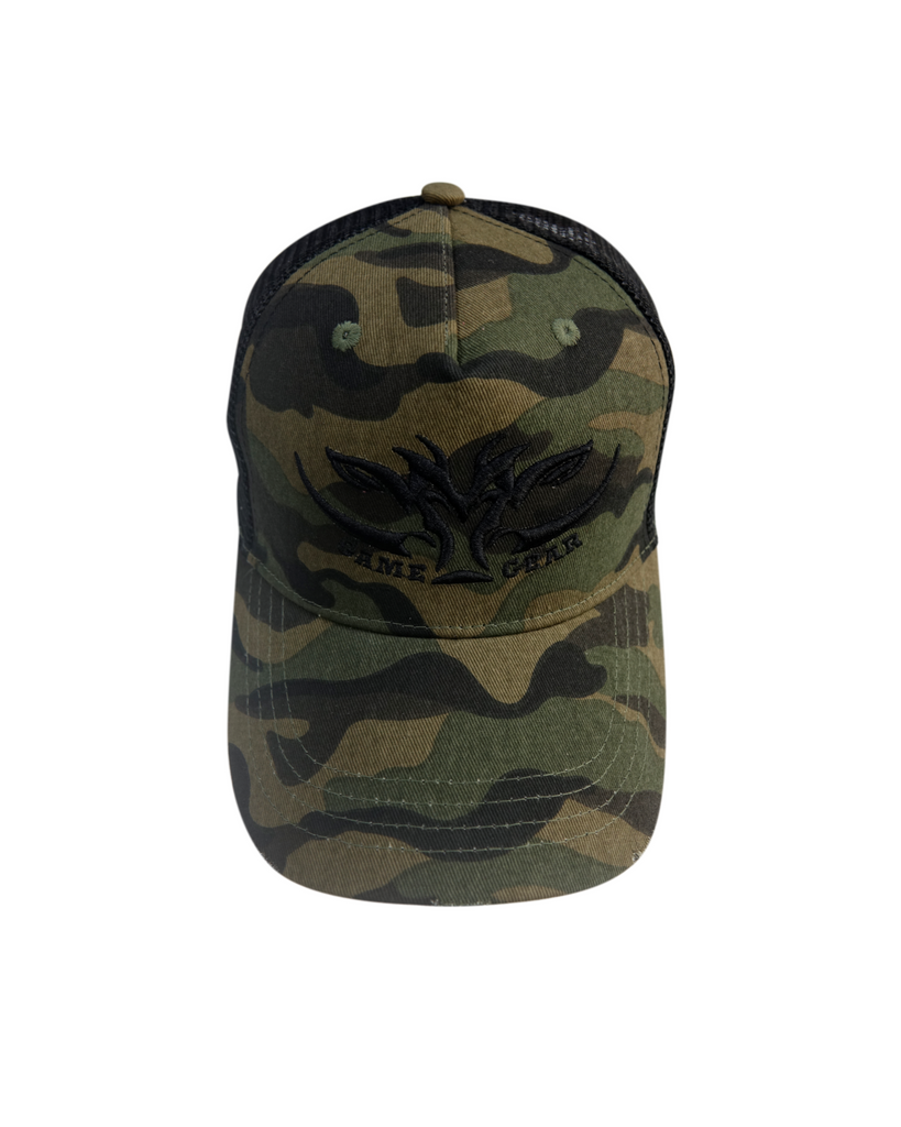 Distressed peak on the El Chappo Capo - Camo Cap