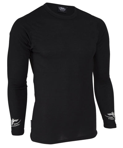 Black long sleeve thermal top for hunting and outdoors