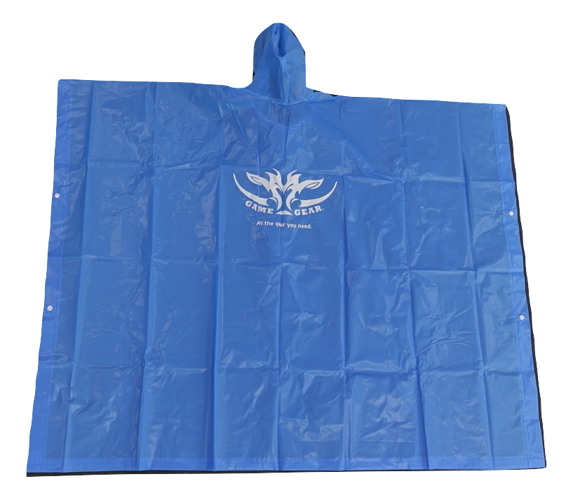 Blue waterproof vinyl poncho