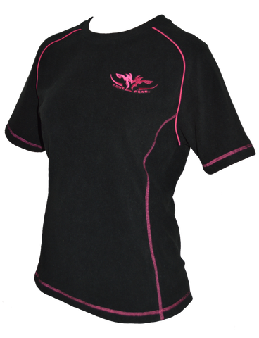 Ladies black fleece tee with pink trim with zip pocket