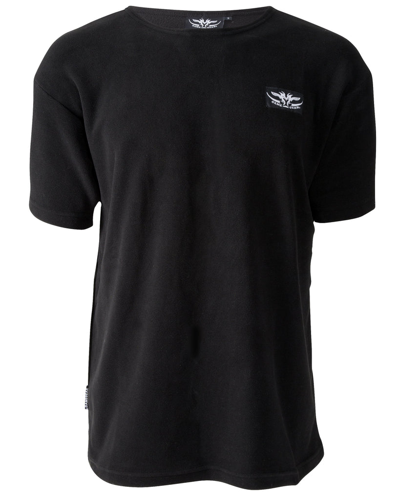 Black fleece tee for outdoors and hunting