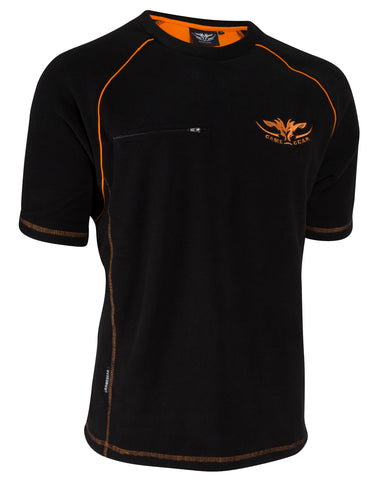 Black Hunting and Outdoors Fleece Tee with orange accents and zip chest pocket