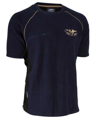 Navy Blue Hunting and Outdoors Fleece Tee with Gold accents and zip chest pocket