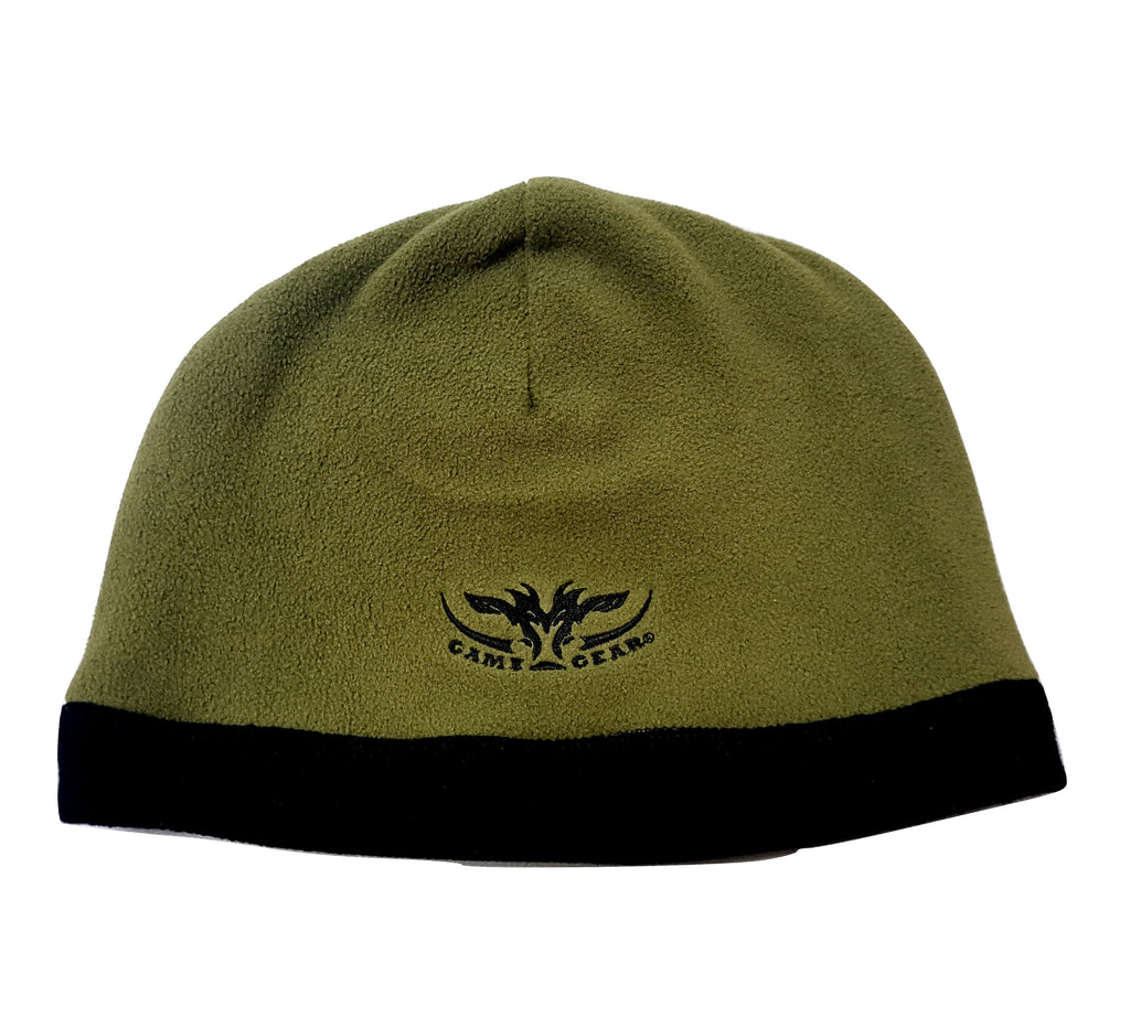 Lightweight moss green microfleece beanie reversible