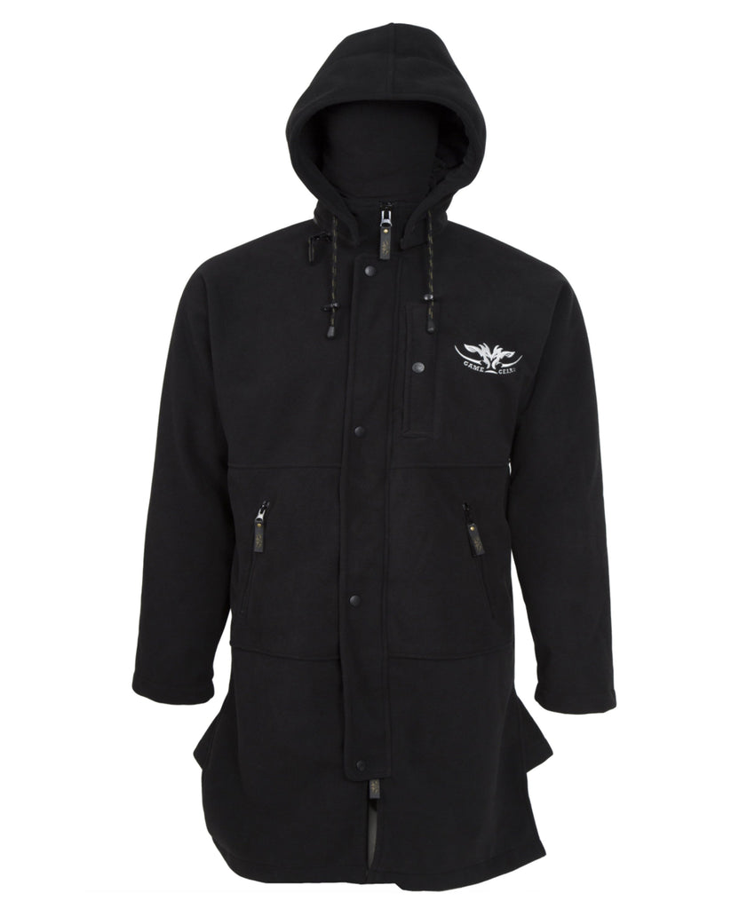 Black windproof jacket with full zip for hunting and outdoors