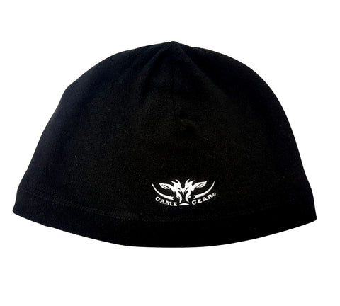 Lightweight black microfleece beanie reversible