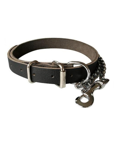 Black Heavy Duty full grain Leather Dog Collar with Chain and snap hook. 25mm wide
