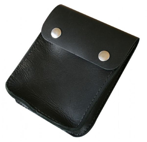 Black NZ Made full grain leather Diary Pouch with dome closure