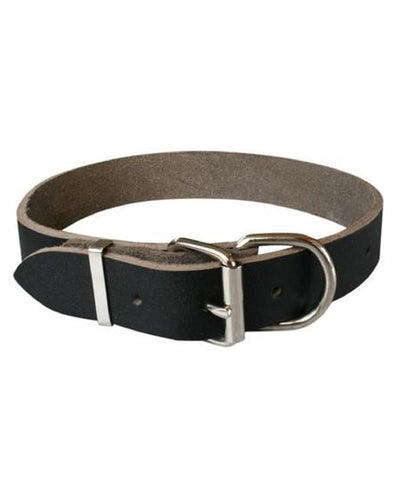 Heavy Duty Black NZ Made Full grain leather Dog Collar. 25mm wide