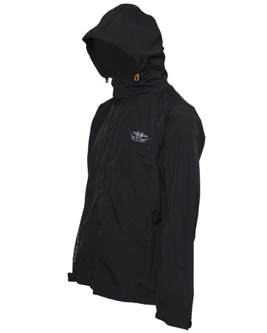 Kids Black waterproof jacket with hood for hunting and outdoors