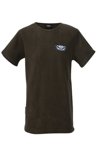 Kids Olive fleece tee for outdoors and hunting