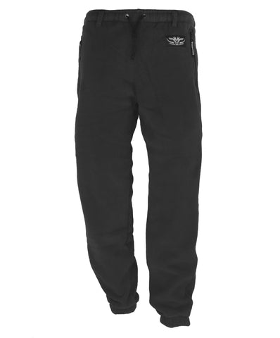 Kids Fleece Pants Black with 2 zipped side pockets and drawstring waist