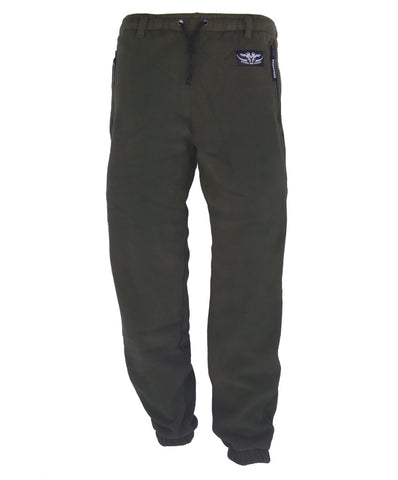 Kids Fleece Trousers Olive with 2 zipped side pockets and drawstring waist