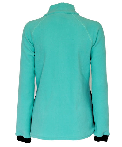 Kids Aqua Micro Fleece top with black side panels, zip neck and chest zip pocket