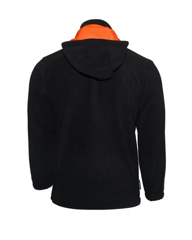 Kids Black fleece hoodie with orange lined hood and zip pockets