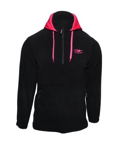 Kids Black fleece hoodie with pink lined hood and zip pockets