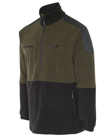 Kids Olive and Black Fleece Jersey with quarter zip front and zip pockets