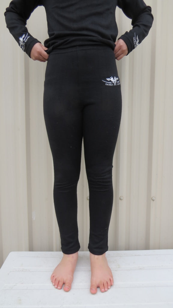 Kids Black thermal leggings for hunting and outdoors