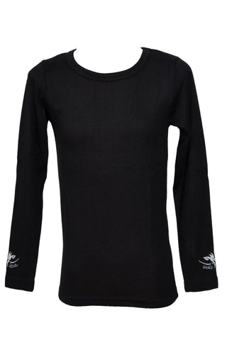 Kids Black long sleeve thermal top for hunting and outdoors