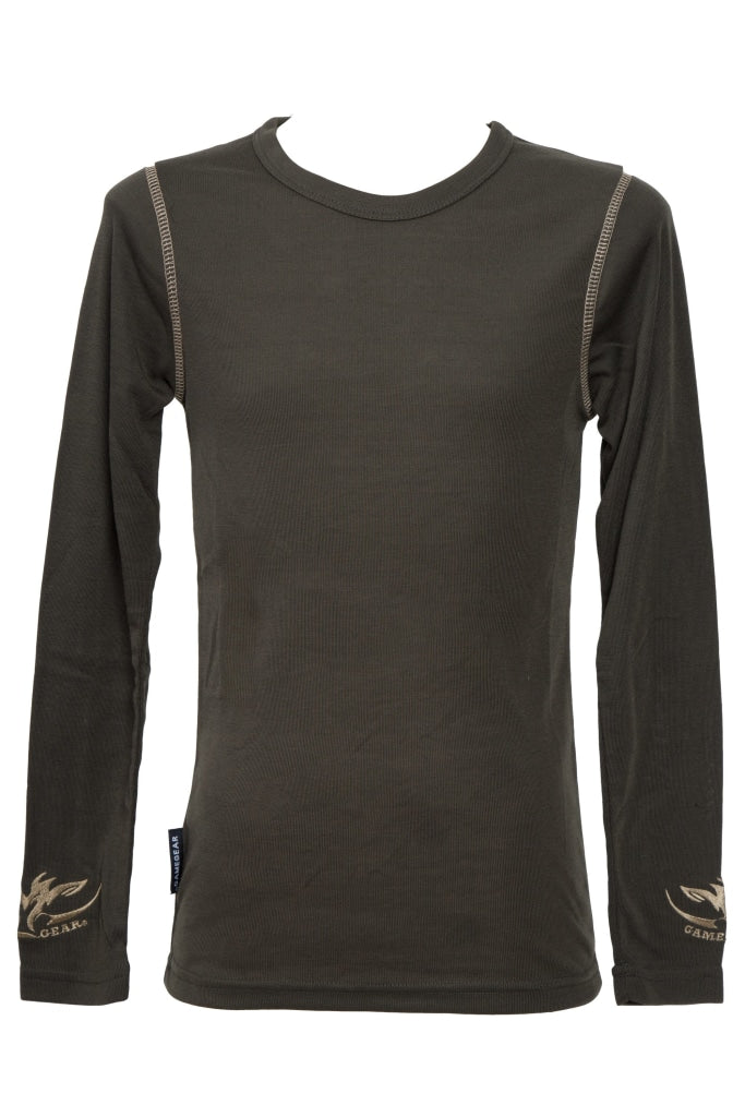Kids Olive green long sleeve thermal top for hunting and outdoors