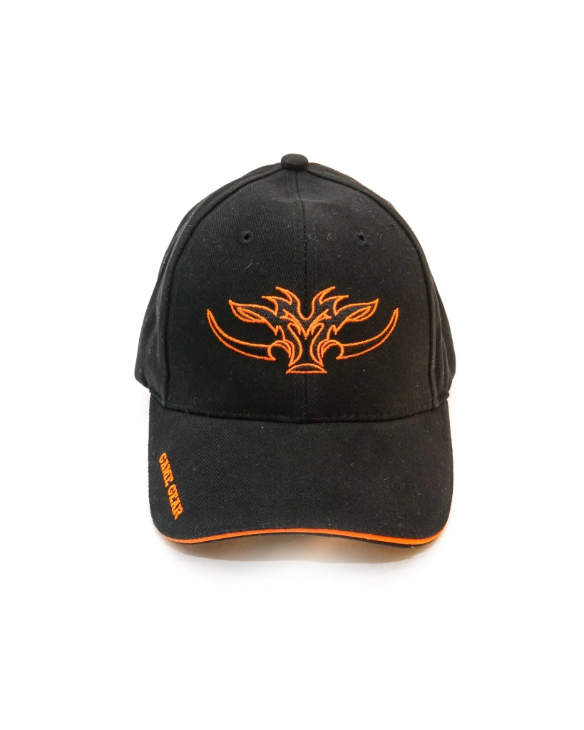 Kids black cap with orange trim and orange Game Gear Logo